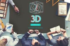 conceito moderno da exposição 3D futurista tridimensional Foto de Stock Royalty Free
