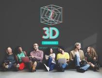 conceito moderno da exposição 3D futurista tridimensional Imagens de Stock Royalty Free