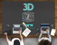 conceito moderno da exposição 3D futurista tridimensional Foto de Stock