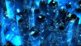 Conceito moderno da tecnologia dos arranha-céus de néon azuis da cidade Imagem de Stock