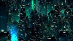 Conceito moderno da tecnologia dos arranha-céus de néon verdes da cidade Imagem de Stock