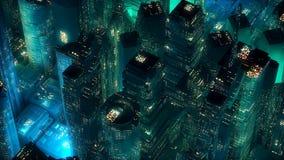 Conceito moderno da tecnologia dos arranha-céus de néon verdes da cidade Imagens de Stock