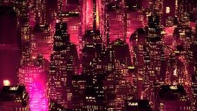 Conceito moderno da tecnologia dos arranha-céus de néon vermelhos da cidade Fotografia de Stock Royalty Free