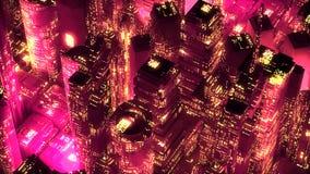 Conceito moderno da tecnologia dos arranha-céus de néon vermelhos da cidade Imagens de Stock Royalty Free