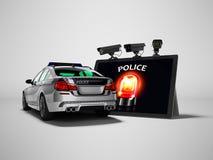 Conceito moderno de chamar o carro de polícia através do Internet 3d para render no fundo cinzento com sombra ilustração royalty free