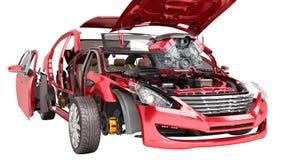 Conceito moderno de detalhes do trabalho da reparação de automóveis do carro vermelho em um w ilustração stock