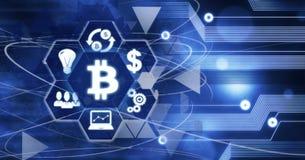 Conceito mordido Digitas do negócio de Bitcoin Cryptocurrency, tecnologia dos dados do computador da inovação, fundo do futuro de ilustração stock