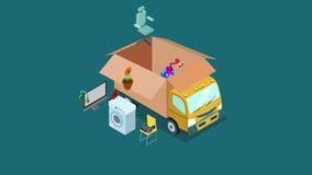Conceito movente do transporte do escritório domiciliário em linha da compra da Web do Internet ou do vídeo do serviço de entrega ilustração do vetor