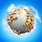 Conceito mundial abstrato criativo da indústria do negócio do transporte, da reciclagem e do dano ao meio ambiente: 3D rendem a i ilustração stock