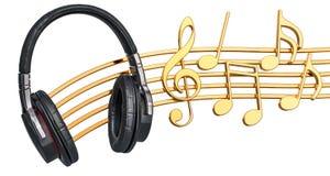 Conceito musical Fones de ouvido com notas da música, rendição 3d Foto de Stock Royalty Free
