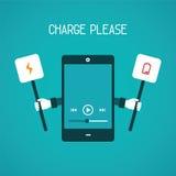 Conceito móvel do vetor da carga da necessidade do dispositivo no estilo liso Imagem de Stock