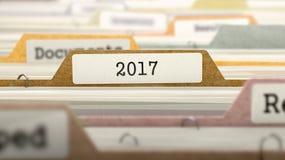 Conceito 2017 na etiqueta de arquivo 3d Imagem de Stock Royalty Free