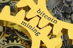 Conceito nas cremalheira, da mineração de Bitcoin rendição 3D Fotografia de Stock Royalty Free