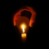 Conceito natural da luz da lâmpada com vela Fotos de Stock Royalty Free