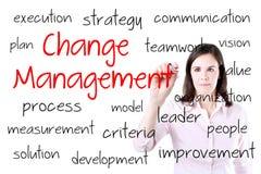 Conceito novo da gestão de mudanças da escrita da mulher de negócio Isolado no branco Fotos de Stock Royalty Free