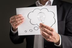 Conceito novo da ideia, da inovação e da sessão de reflexão foto de stock royalty free