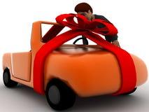 conceito novo do carro do homem 3d Fotos de Stock Royalty Free