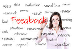 Conceito novo do feedback da escrita da mulher de negócio Isolado no branco fotos de stock royalty free