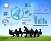 Conceito novo do negócio global dos trabalhos de equipa da inovação da carta de negócio Imagens de Stock Royalty Free