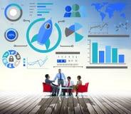 Conceito novo do negócio global dos trabalhos de equipa da inovação da carta de negócio imagem de stock