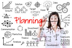 Conceito novo do planeamento da escrita da mulher de negócio. Isolado no branco. Fotografia de Stock Royalty Free