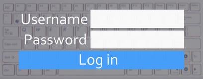 Conceito novo do registro da conta - entre a caixa e o teclado imagens de stock royalty free