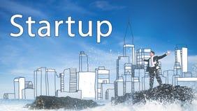 Conceito novo Startup do lançamento da estratégia da visão do negócio ilustração royalty free