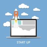 Conceito O projeto começa acima - a ilustração do lançamento Fotografia de Stock Royalty Free