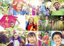 Conceito ocasional do verão brincalhão da apreciação da família das crianças fotografia de stock royalty free