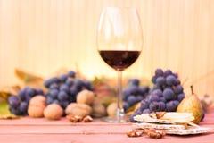 Conceito orgânico do almoço do outono com um vidro do vinho tinto foto de stock