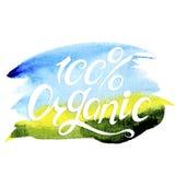 Conceito orgânico natural da bandeira 100% do vetor Imagem de Stock Royalty Free