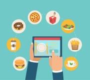 Conceito para o alimento da entrega e da ordem para o app ilustração royalty free