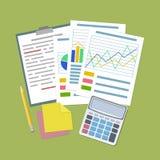 Conceito para o planeamento empresarial e a contabilidade, análise ilustração stock