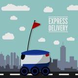 Conceito para o serviço de entrega Robô da entrega ilustração do vetor