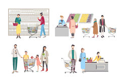 Conceito para o supermercado ou a loja Ajuste com caráteres dos compradores na caixa registadora, perto das cremalheiras, bens pe ilustração royalty free