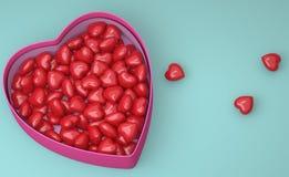 Conceito para Valentine' dia de s Caixa com corações vermelhos ilustração royalty free