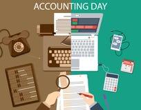 Conceito passado e do presente do escritório Ilustração do molde da contabilidade Foto de Stock Royalty Free