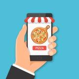 Conceito pedindo da pizza em linha ilustração stock