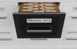 Conceito pessoal da proteção de dados Armário completamente dos arquivos e dos dobradores 3D rendeu a ilustração Imagens de Stock