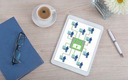 Conceito pessoal da segurança de dados em uma tabuleta digital Imagem de Stock Royalty Free