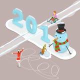 Conceito poli horizontalmente isométrico do vetor do ano novo feliz 2018 e do Feliz Natal baixo ilustração do vetor