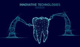 conceito poligonal do braço do robô da inovação do dente 3d Sumário poli do triângulo do símbolo do Stomatology cuidados médicos  ilustração royalty free