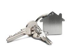 Conceito, porta-chaves e chaves da propriedade no fundo isolado Imagem de Stock