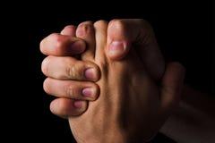 Conceito Praying da religião das mãos Fotografia de Stock