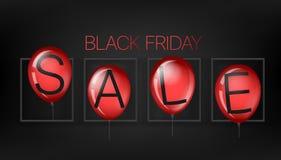Conceito preto da venda de sexta-feira com balões vermelhos ilustração do vetor