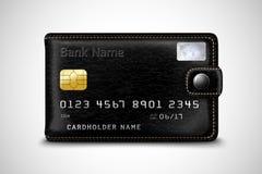 Conceito preto do cartão de crédito bancário da carteira Imagens de Stock