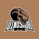 Conceito principal do logotipo do vetor do clube de esporte do dinossauro no fundo marrom ilustração stock
