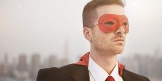 Conceito profissional de Superhero Costume Leadership do homem de negócios foto de stock