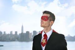 Conceito profissional de Superhero Costume Leadership do homem de negócios foto de stock royalty free