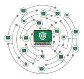 Conceito protegido dados da rede isolado no fundo branco ilustração do vetor